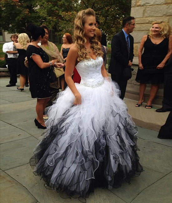 Cute sweetheart white/black long prom dress, sweet 16 dress