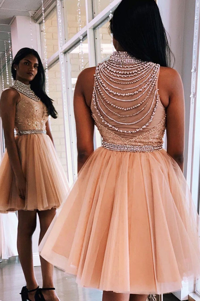 Unique high neck tulle beads short prom dress homecoming dress