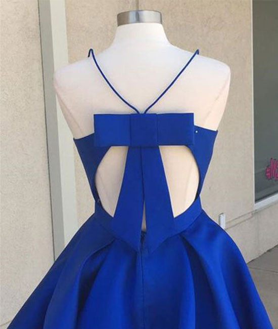 Simple v neck blue short prom dress. cute homecoming dress - shdress