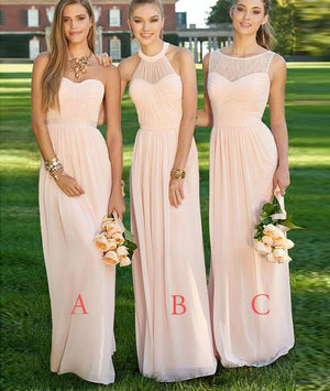 Simple A-line chiffon long prom dress, bridesmaid dress, wedding party dress - shdress