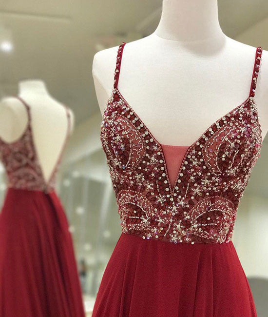 Unique sequin beads burgundy long prom dress, formal dress - shdress