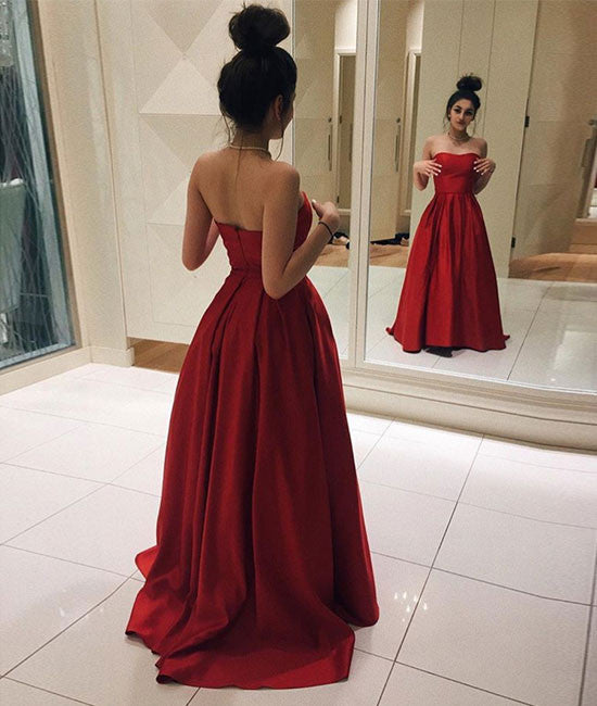 Red satin long prom dress, simple red evening dress - shdress