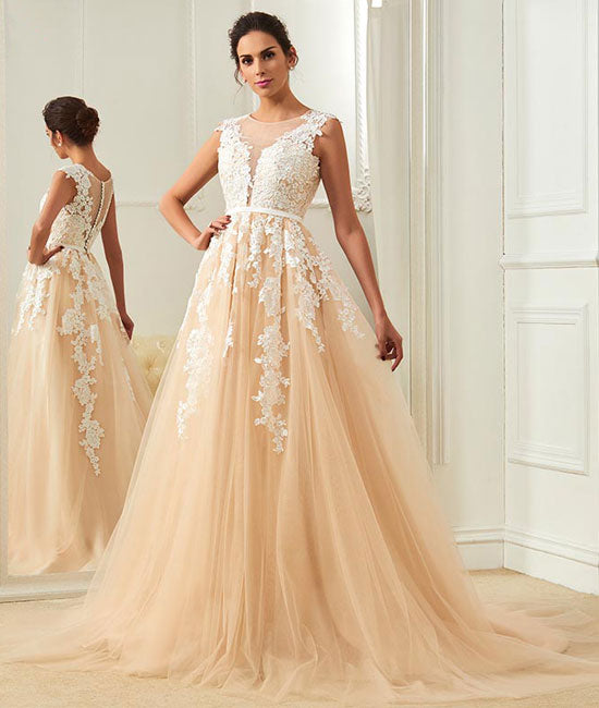 Champagne round neck tulle lace applique long prom dress, champagne evening dress