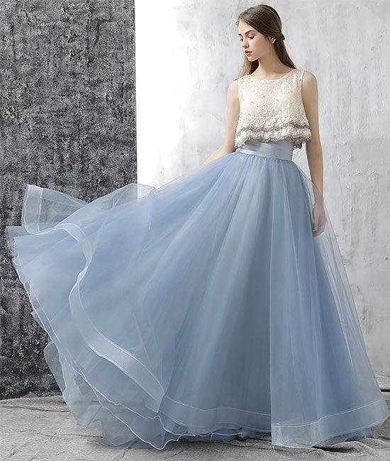 Elegant two pieces tulle long prom dress, tulle homecoming dress