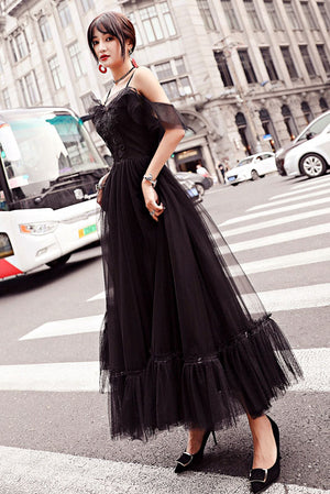 Black tulle lace tea length prom dress, lace tulle evening dress