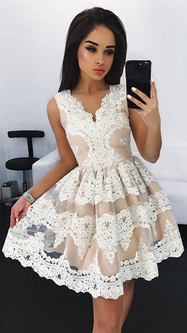white lace short prom dress, white cute lace homecoming dress - shdress