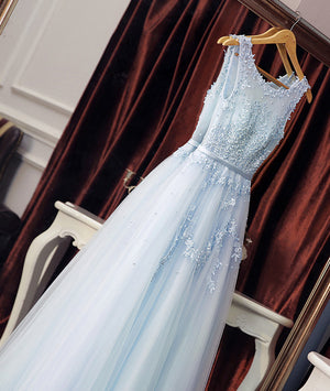 Light blue round neck lace tulle long prom dress blue evening dress - shdress
