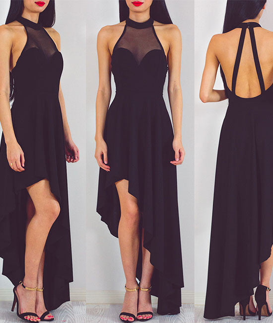 Simple black chiffon prom dress, black evening dress