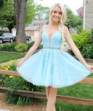 Blue v neck tulle lace short prom dress, blue tulle homecoming dress - shdress