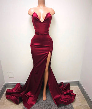 Simple sweetheart burgundy evening dress, burgundy prom dress - shdress