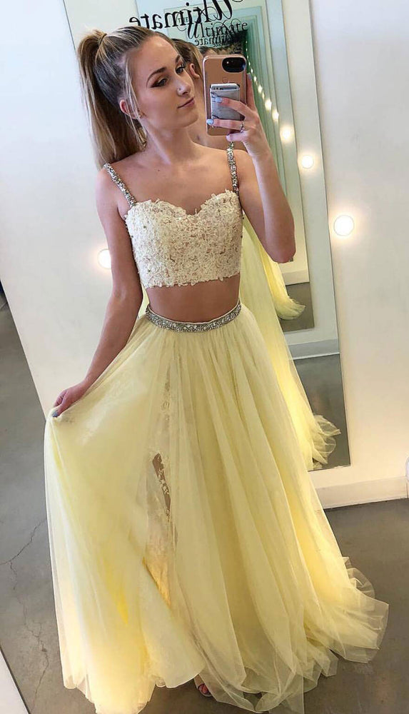 Yellow two pieces lace tulle long prom dress, yellow evening dress - shdress