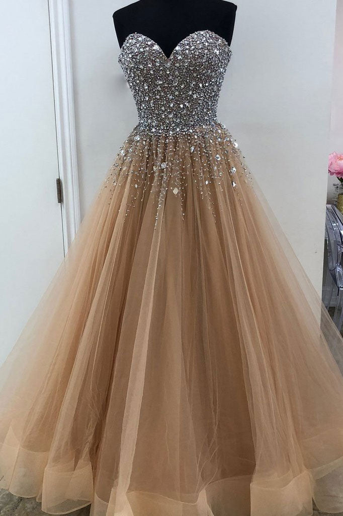 Champagne sweetheart neck tulle beads sequin long prom dress, evening dress