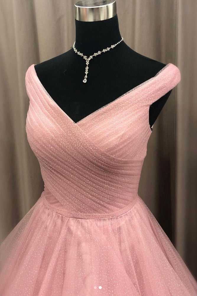 Pink tulle off shoulder long prom dress, pink evening dress