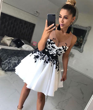 White v neck lace applique short prom dress, white homecoming dress - shdress