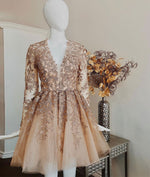 Champagne v neck lace tulle short prom dress, champagne homecoming dress
