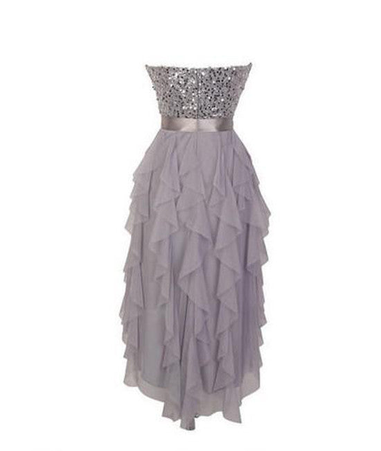Gray sweetheart sequin short prom dress, bridesmaid dress