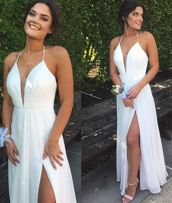 White v neck chiffon long prom dress, white evening dress