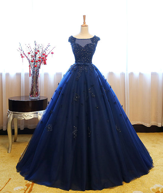 Dark blue tulle lace long prom dress, dark blue sweet 16 dress