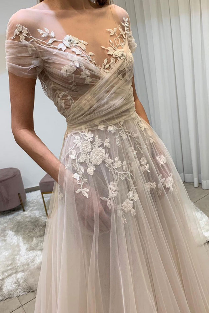 Light champagne tulle lace long prom dress, lace evening dress