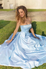 Simple blue satin long prom dress blue satin formal dress