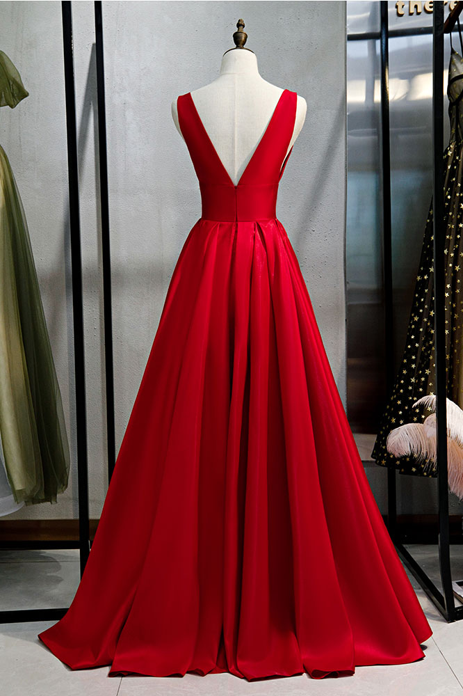 Red v neck satin long prom dress simple red evening dress