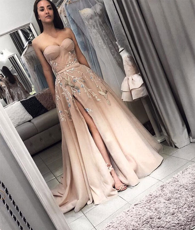 Champagne sweetheart neck tulle long prom dress, champagne evening dress - shdress