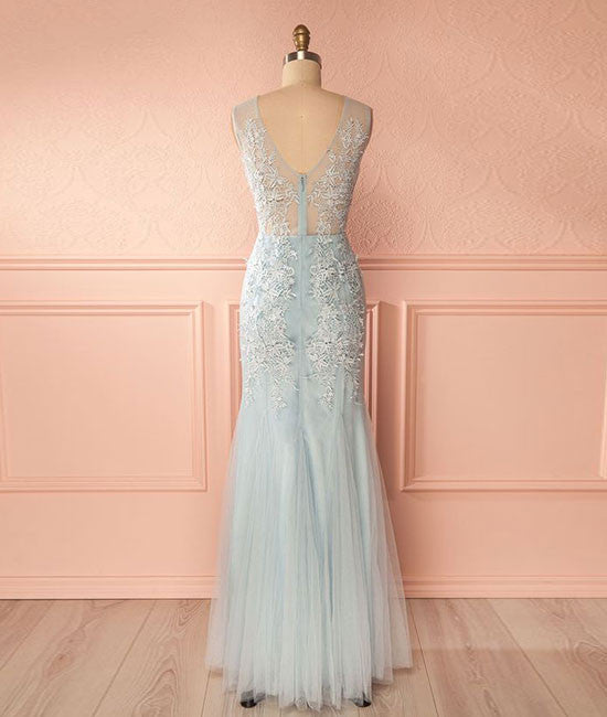 Blue v neck lace tulle long prom dress, blue lace evening dress for teens