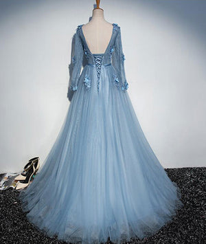 Blue v neck tulle lace long prom dress, tulle evening dress - shdress
