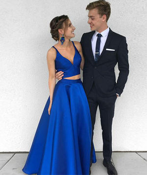 Simple two pieces blue satin long prom dress, blue evening dress - shdress