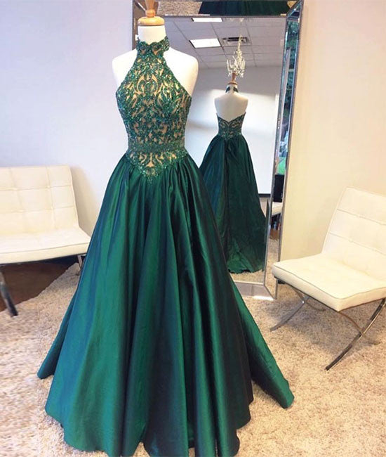 Green high neck long prom dress, green evening dress - shdress
