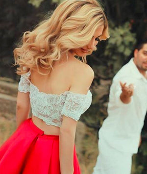 Cute Red 2 Pieces Short Lace Prom Dresses, Evening Dress - shdress