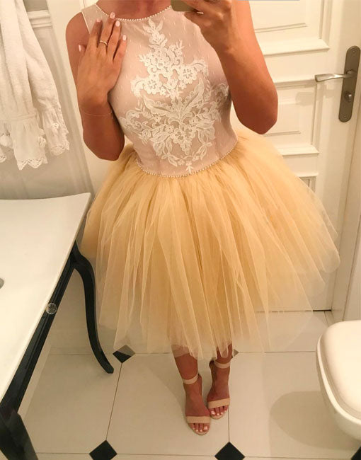 Champagne lace tulle short prom dress, champagne homecoming dress - shdress