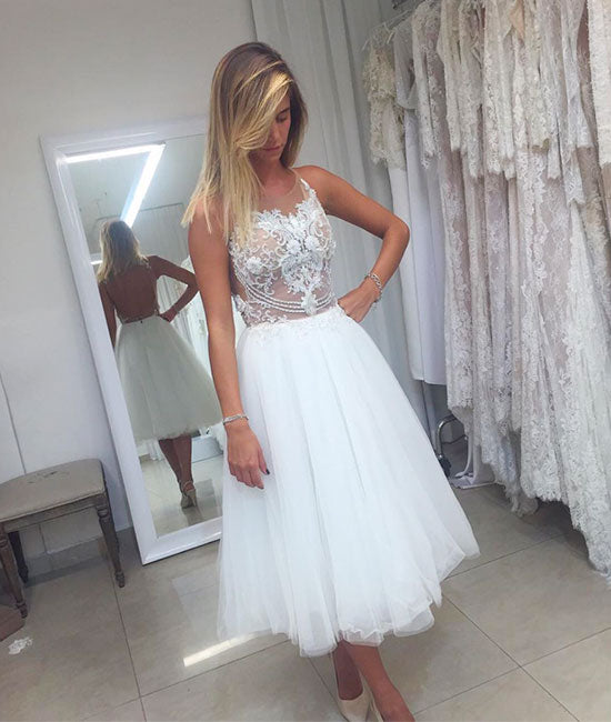 White tulle lace short prom dress, white homecoming dress - shdress