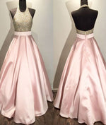 Pink round neck sequin long prom gown, pink evening dress for teens