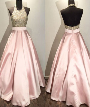 Pink round neck sequin long prom gown, pink evening dress for teens - shdress