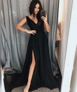 Black v neck satin long prom dress, black evening dress - shdress
