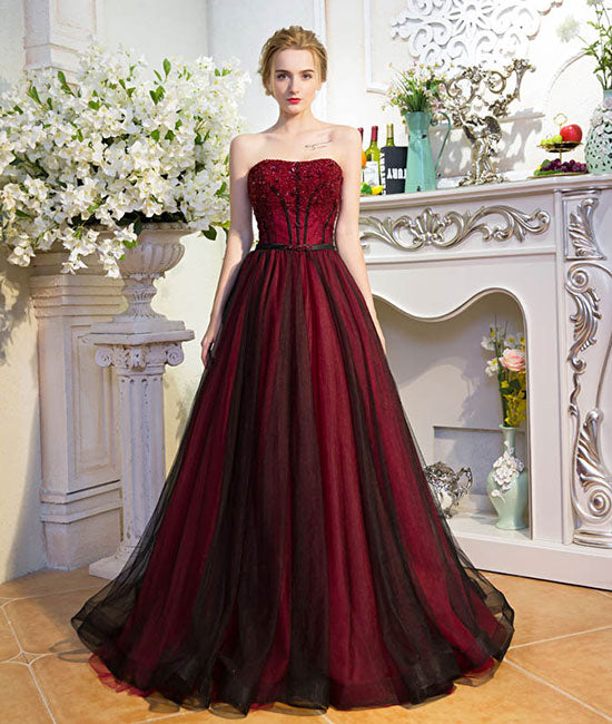 Unique burgundy tulle long prom dress, burgundy evening dress