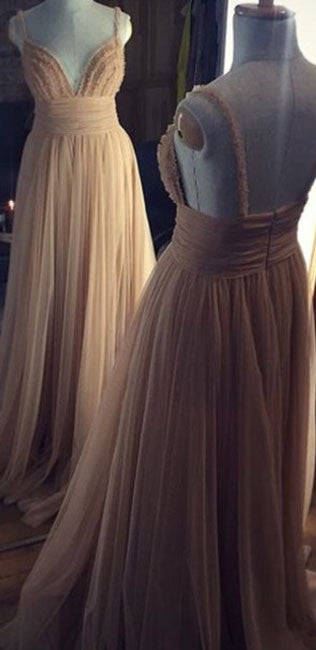 Champagne tulle long prom dress, tulle evening dress for teens - shdress