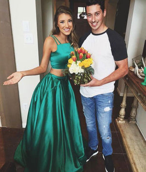 Green satin two pieces long prom dress, green evening dress - shdress