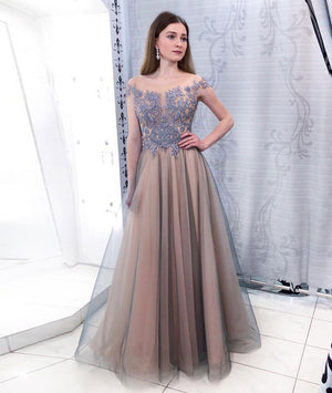 Unique tulle lace long prom dress, tulle lace formal dress