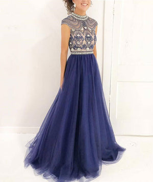 Blue A-line beads tulle long prom dress, blue evening dress - shdress
