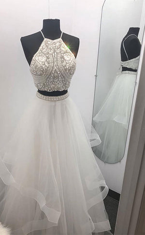 White two pieces tulle beads long prom dress, white evening dress - shdress