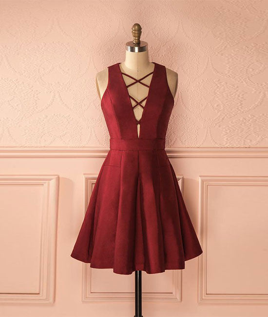 Cute burgundy short prom dress, simple homecoming dress