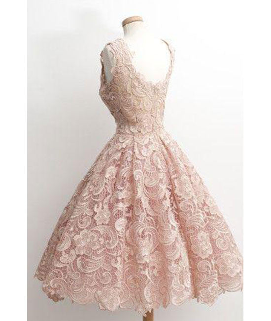 Cute light pink lace short prom dress lace bridesmaid for Short red and white wedding dresses