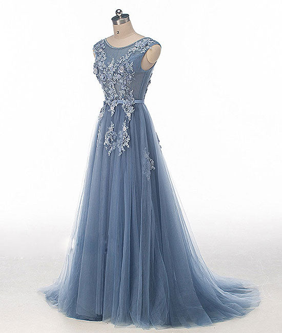 Blue round neck tulle lace applique long prom dress, blue evening ...