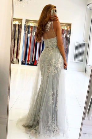 Gray one shoulder lace tulle long prom dress gray evening dress