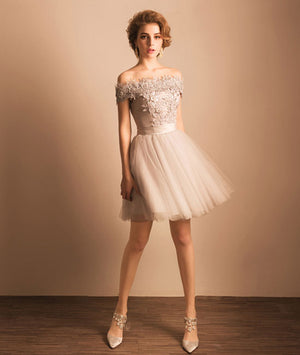 Cute gray lace tulle short prom dress, homecoming dress - shdress
