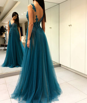 Green v neck tulle long prom dress, green lace evening dress - shdress