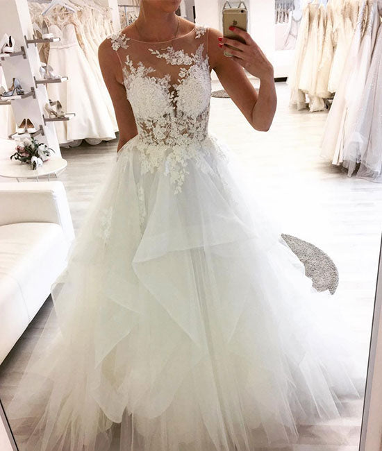 White round neck tulle lace long prom dress, white tulle wedding dress