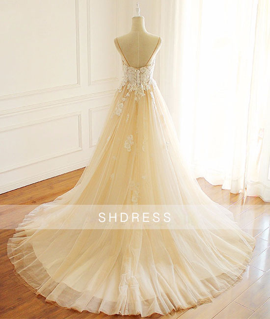 Champagne v neck tulle lace long prom dress, champagne tulle evening dress - shdress